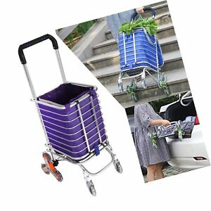 Folding Shopping Cart Heavy Duty Rolling Grocery Carts Reusable Utility Trans