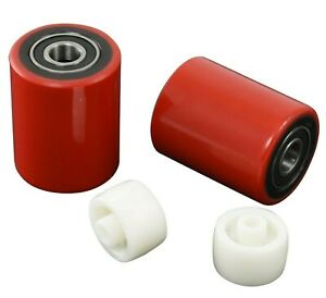 Brand New Pallet Jack Load Wheels Pair Poly With Bearings Entry exit Roller