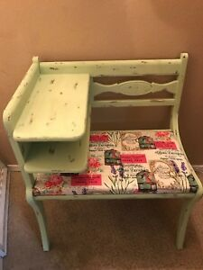 Vintage Refurbished Gossip Bench Distressed Pistachio Green Telephone Table