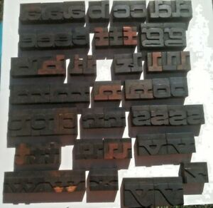 Wood Alphabet Wide Letter Lower Case 53pc Letterpress Print Block Printer Cut