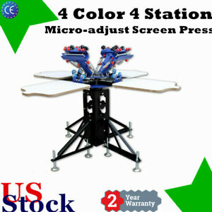 E442l 4 Color 4 Station Silk Screen Print Machine Micro adjust T shirt Printer