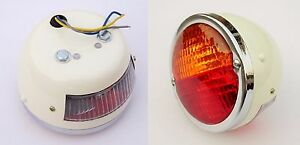 Set 2x Licence Plate Window Tail Stop Light With Classic vintage Round Tractor