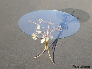 Vintage French Rococo Style Gold Tole Rose Petals Glass Top Side Table In Italy