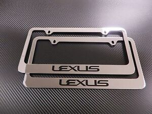 2pcs Brand New Lexus Text Chromed Plastic License Plate Frame