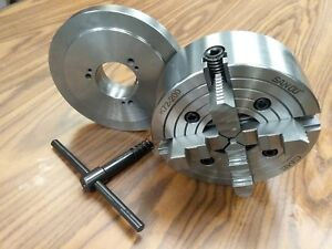 8 4 jaw Lathe Chuck Independent Jaws W D1 4 D4 Adapter Semi finish 0804f0 new