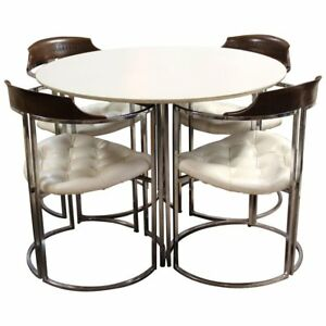Mid Century Modern Daystrom Chrome Wood White Laminate Dinette Set 4 Chairs 70s