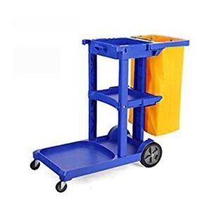 Commercial Housekeeping Janitorial Cart With Vinyl Bag Blue