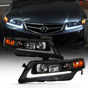 04 08 Acura Tsx Led Bar Neon Tube Black Projector Headlight Left Right Pair Lamp