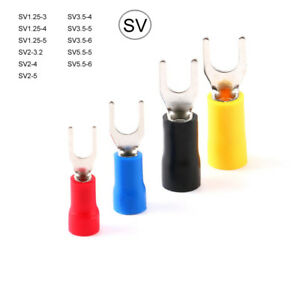Sv Insulated Wire Crimp Fork Terminal Electrical Connector Red Blue Yellow Blue