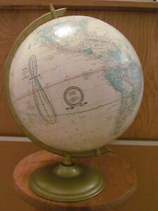 Vintage George F Cram Imperial 12 Globe With Metal Base With Ussr