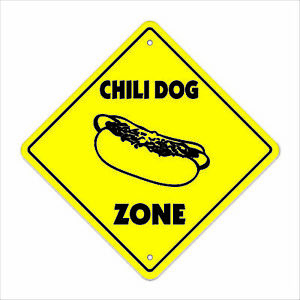 Chili Dog Crossing Sign Zone Xing 14 Tall Hot Dog Mustard Chicago Coney Island