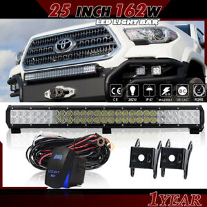 25 162w Led Light Bar On Front Bumper Bull For Jeep Toyota Tacoma Trd Off road
