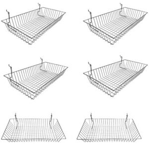 6pc 24 x 12 x 4 Shallow Basket Display Rack Chrome Metal Wire Slatwall