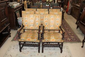 Set Of 8 French Antique Carved Louis Xiii Barley Twist Living Room Accent Chairs