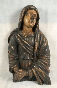 Exceptional Large 18th C Italian Polychrome Wood Carved Saint Mary Magdalene