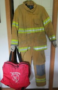Fire dex Firefighter Set Coat pants W blk Suspender bag Bunker Turn Out Gear Usa