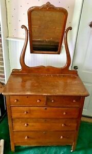Antique Oak Dresser With Harp Mirror Possibly Early 1900s Local Pickup Only