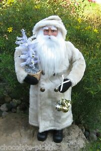 Santa Claus White Faux Feather Christmas Tree Primitive French Country Decor