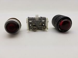 3pc Vintage Lot Dial Co Ny Red 75w Lens Panel Light Indicator 800t Xdi Switch