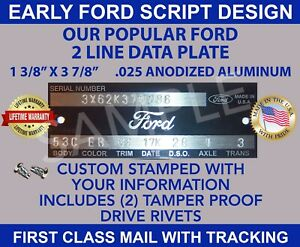 Ford Data Vin Plate Vehicle Id Serial Number Tag Stamped With Your Information