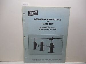 Hardinge Bar Feed Operating And Parts List 6 And 12 Ma100