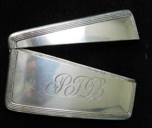Victorian Antique Sterling Silver Curved Shape Pocket Card Case