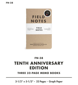 Fn 38 Field Notes Brand Notebook 10th Tenth Anniversary Edition Sealed 3 pack