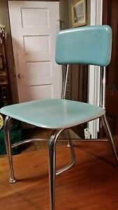 Vtg Heywood Wakefield Child School Chair Aqua Chrome Danish Mid Century Woodite