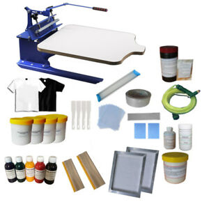 1 Color 1 Station Screen Printing Kit Full Set Ink Supplies Shirt Pallet Machine
