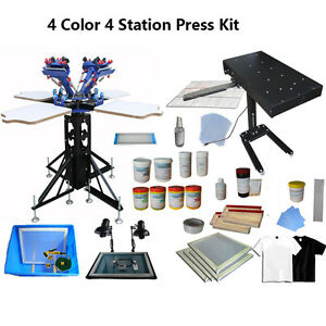 4 Color Screen Printing Kit Press Adjustable Flash Dryer Consumable 4 Station