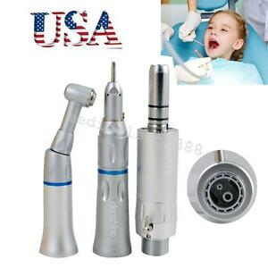 Dental Slow Low Speed Handpiece Push Button 2h E type Complete Kit 2 Hole Aa