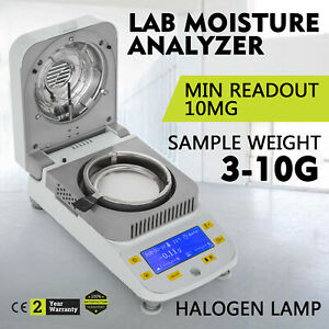 Lab Moisture Analyzer Meter W Halogen Heating For Grain Wood Mineral 0 01g 50g