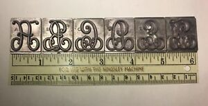 Kingsley Machine Type 1 3 One Third Size Elegance Initials Large Complete Set