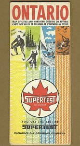 Vintage 1966 Supertest All Canadian Gas Station Map Ontario Canada Husky Irving