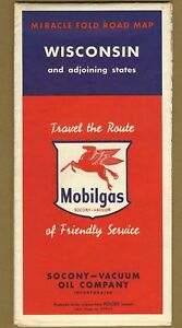 Vintage 1950 Socony Vacuum Mobilgas Gasoline Motor Oil Road Map Of Wisconsin