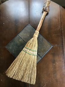 Vintage Primitive Hearth Broom W Sorghum Bristles Burl Wood Handle 29