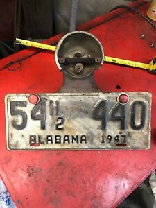Antique Vintage Model A Ford Duo Lamp License Plate Bracket Alabama 1947