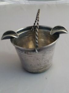 Antique Sterling Silver Bucket Ashtray With Colombian Coin 1934 33 Grams