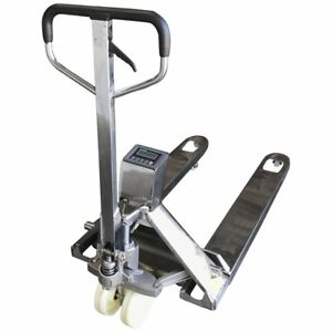 Op 918ss Full Stainless Steel Pallet Jack Scale 3 300 X 1 Lb With Printer