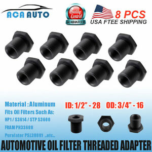 8 Pcs 1 2 28 To 3 4 16 Threaded Adapter Anodized Aluminum Automotive Oil Filter