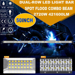50inch 52 2720w Cree Led Work Light Bar Dual Row Spot Flood 4wd Offroad Truck