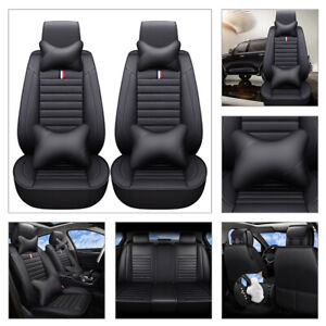 5 seats Car Suv Seat Cover Front Rear Cushion Universal Deluxe Pu Leather Pillow