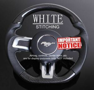 Express White Stitch Carbon Steering Wheel Napa Leather For Ford Mustang 15 17
