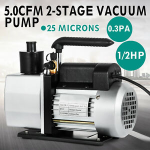 5cfm Vacuum Pump 2 stage 1 2 Hp Rotary 40miron 1 2 acme Inlet Recharging 1 2hp
