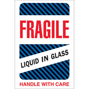 Tape Logic Labels fragile Liquid In Glass 4 X 6 Multiple 500 roll Dl1590