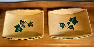 Two Mid Century Modern Wood Footed Trench Dish Hand Painted Grapes And Leaves