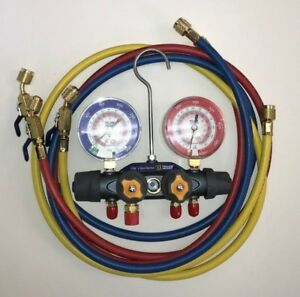 Yellow Jacket 49968 Titan Manifold W Hoses And Ball Valves R22 404a 410a