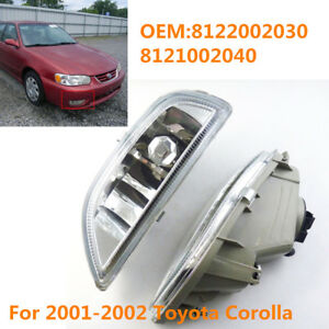 Pair Clear Front Bumper Driving Fog Light For 2001 02 Toyota Corolla 8121002040