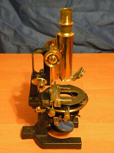 Antique Vintage Brass Microscope Carl Zeiss Jena