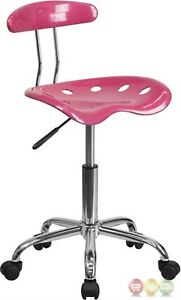 Vibrant Pink And Chrome Task Chair With Tractor Seat